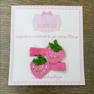 New handmade crochet strawberry pair of hair clips